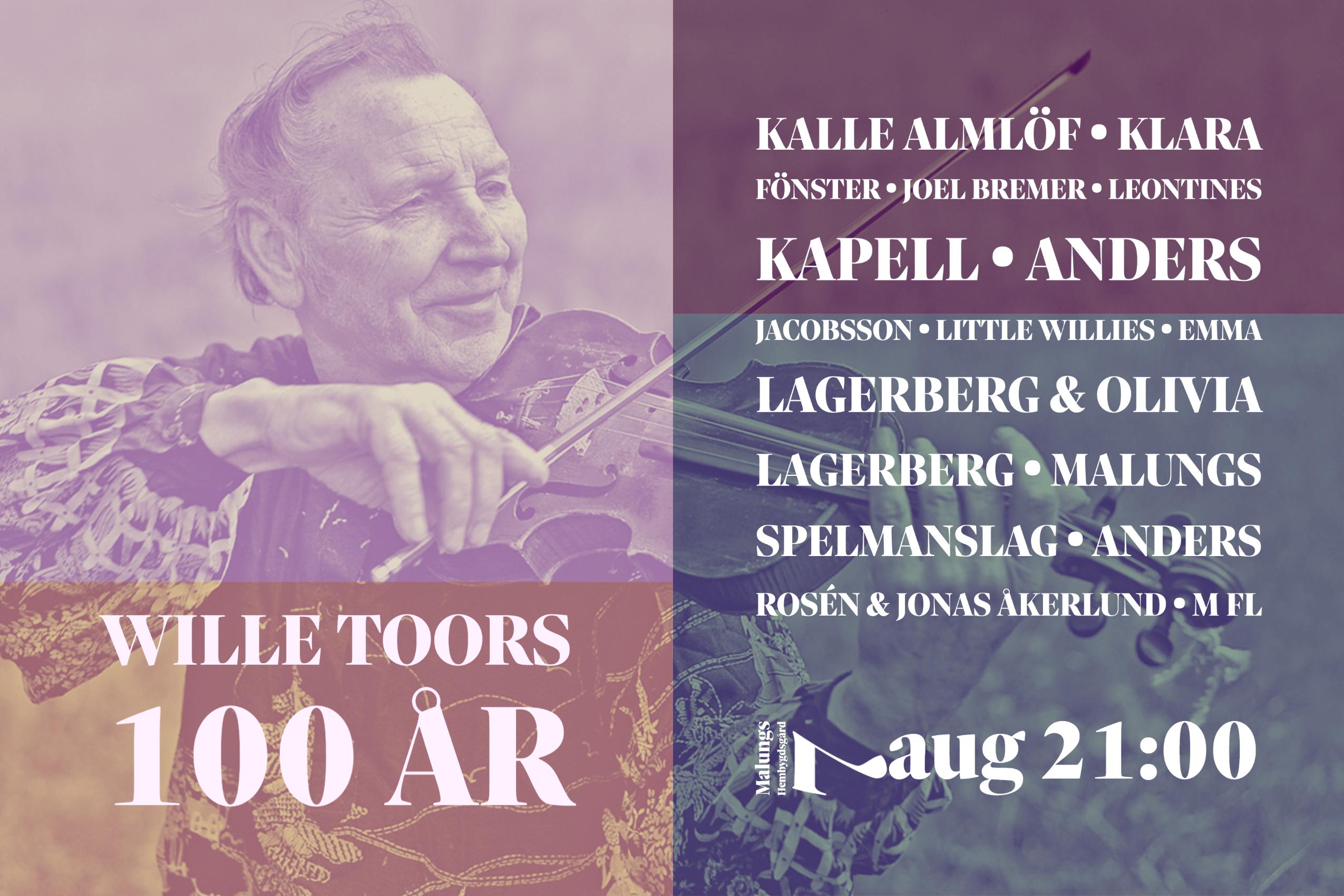Wille Toors - jubileumskväll på Hembygdsgården